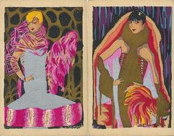 Art Deco 2 Superbes Cartes Pochoir Signées Chompré Or Argent Silver And Gold - Illustrateurs & Photographes