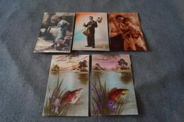 Superbe Lot Fantaisie,5 Cartes Anciennes,collection, Poisson D'Avril, 1er Avril ,collector,oblitération Esneux - 1er Avril - Poisson D'avril