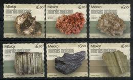 MEXIQUE.Sulfure D'argent,Calcium Carbonate,silicate,Livingstonite,Beryl, Etc. 6 Timbres Neufs ** - Minerals