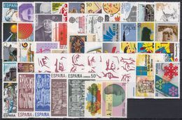 ESPAÑA 1988 Nº 2927/2985 AÑO NUEVO COMPLETO,55 SELLOS,2 HB,1 CARNET - España