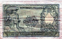 Billet De 50 Lire De La République Italienne Du 31 Décembre 1951 En T B - [ 2] 1946-… : Repubblica