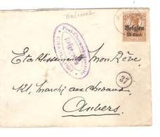SJ108/ TP Oc 15 S/L. C.Walcourt 1917 Delpierre Ingénieur Censure Charleroi V.Anvers - [OC1/25] Gen.reg.