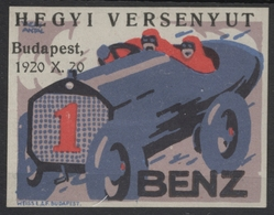 Oldsmobile Oldtimer Auto Racing Car AUTOMOBILE 1920 Hungary Budapest  Race - LABEL CINDERELLA VIGNETTE - MH - Benz - Automobile