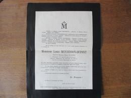 REIMS MONSIEUR LOUIS MENNESSON-DUPONT VEUF DE MADAME MARIE DUPONT CHEVALIER DE SAINT GREGOIRE LE GRAND DECEDE 29/03/1931 - Avvisi Di Necrologio