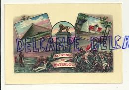 Souvenir De Waterloo. Carte Mosaïque. La Butte, Le Lion, La Ferme De La Belle Alliance - Waterloo