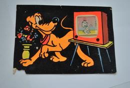 Carte Feutrine Velours  Pluto   Disney ( Carte Abimée  ) - Other