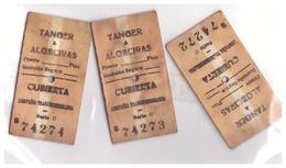 TANGER A ALGECIRAS - CUBIERTA  3 TICKETS :SERIE C N°74274 74273 74272-compania Transmediterranée - Billets D'embarquement De Bateau