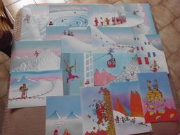 LOT DE 15 CARTES (1 Avec Pliure) VIERGES...ILLUSTRATIONS ...SKI..MONTAGNE ...DE GUY DELAUNAY ... - Cartoline