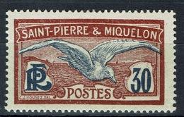 Saint Pierre And Miquelon, Bird, Seagull, 30c, 1922, MH VF - St.Pierre & Miquelon