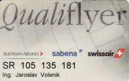 Austria, Qualiflyer Transport Magnetic Card, Austrian Airlines, Sabena, Swissair - Moteurs