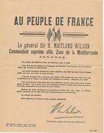 AU PEUPLE DE FRANCE - LE GENERAL SIR H. MAITLAND WILSON COMMANDANT SUPREME ALLIE ZONE DE LA MEDITERRANEE - 1939-45