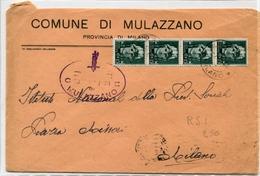 STORIA POSTALE-Repubblica Sociale Italiana-Striscia Di 4-Comune Di Mulazzano-1944 - Posta