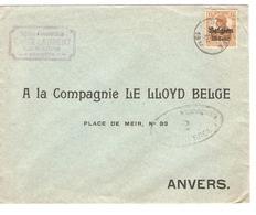 SJ111/ TP Oc 15 S/L. C.Seneffe Entête Emile Laurent 1917 Censure Charleroi V.Anvers - [OC1/25] Gen.reg.