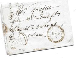 MARQUE POSTALE 1855 MEREVILLE ORLEANS TAXE 30 CAD LAC LETTRE FOUJEU PAR CHAUMETTE - Marcofilia (sobres)