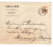 SJ112/ TP Oc 15 S/L.Entête Dubois-Dulière Ateliers De Tuyauteries C.Morlanwelz 1917 Censure Charleroi V.Merksem - WW I