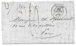 MARQUE POSTALE 1842 SEDAN PARIS TAXE 10 CAD LAC LETTRE RENOUARD - Postmark Collection (Covers)