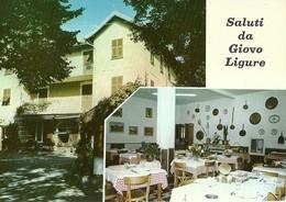 "3147 ""SALUTI DA GIOVO LIGURE "" 2 VEDUTE DELL'ALBERGO BAR RISTORANTE ""LIGURE""  CART. POST. ORIG. SPED.1977 - Saluti Da.../ Gruss Aus..."
