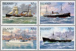 Iceland - 1995 - Postal Ships - Mint Stamp Set (se-tenant Block) - Unused Stamps