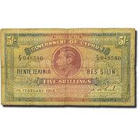 Billet, Chypre, 5 Shillings, 1952-02-01, KM:29, TB - Chypre