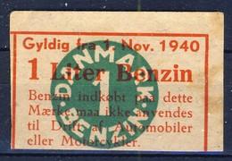 +Denmark 1940-45. Rations Cards. Petrol 1 Liter. - Monnaies & Billets