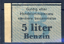 +Denmark 1940-45. Rations Cards. Petrol 5 Liters. - Monnaies & Billets