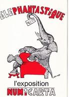 CPM Exposition NUMICARTA Animal Humanisé Position Humaine Elephant  Llustrateur L. MAX (2 Scans) - Borse E Saloni Del Collezionismo