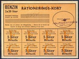 +Denmark 1940-45. Rations Cards. Petrol 5 Liters. - Non Classés