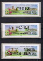 3 ATMs, LISA2, 3 Types De Vignette Au Choix, 0.01/ LV 0.01/ DD 0.01€, TIMBRE PASSION, TOUL, Rose, Vigne à BRULEY, - 2010-... Illustrated Franking Labels