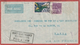 BRESIL - LETTRE POUR LA FRANCE - MANQUE 1 TIMBRE - VERSO FLAMME ROUGE RIO AVION - 1-9-1934 - ENTIEREMENT TRANSPORTE PAR. - Covers & Documents