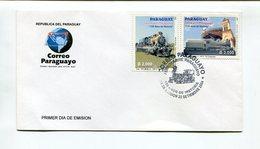 FERROCARRIL PARAGUAYO, 150 AÑOS DE HISTORIA. PARAGUAY 2004 ENVELOPE FDC, SOBRE DIA DE EMISION - LILHU - Paraguay