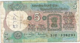 India 5 Rupees 1975 Pk 80 O Nuevo Sello En Hindi E Inglés, Texto Bajo Columna, Firma Malhotra Ref 9 - India
