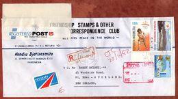Luftpost, Einschreiben Reco, Olympische Sommerspiele Barcelona Tennis U.a., Madiun Nach Auckland 1992 (71888) - Indonesia