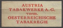 TABAKREGIE - AUSTRIA TABAKWERKE - CIGARETTE Cigarette Tobacco - Label Vignette - Labels