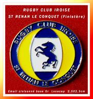 SUPER PIN'S RUGBY : Club IROISE De ST RENAN LE CONQUET Dans Le FINISTERE Symbole Cheval Email Cloisonné Or 2,5X2,3cm - Rugby