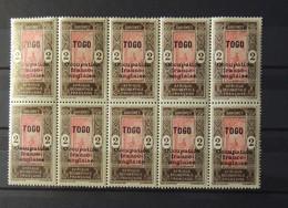 Togo - N° 22 Et 22 B Ocoupation Franco - Anglaise En Bloc De 10 Exemplaires ** - MNH - Cote : 90 Euros - Lot 1 - Togo (1914-1960)
