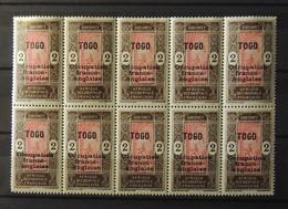 Togo - N° 22 Et 22 B Ocoupation Franco - Anglaise En Bloc De 10 Exemplaires ** - MNH - Cote : 90 Euros - Lot 2 - Togo (1914-1960)