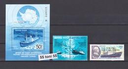 1986 Antarctic Ice Drift Ship - Somov (South Pole Overprint)(Mi5645/47+Bl.189) 3v.+S/S-MNH USSR - Expediciones Antárticas