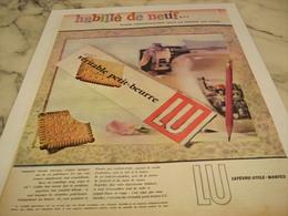 ANCIENNE PUBLICITE HABILLE DE NEUF  BISCUIT PETIT BEURRE  LU 1958 - Affiches
