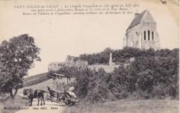 89. SAINT JULIEN DU SAULT. CPA.  ATTELAGE FAUCHEUSE - BATTEUSE AU PIED DE LA CHAPELLE VAUGUILAIN. ANNEE 1919 - Cultures