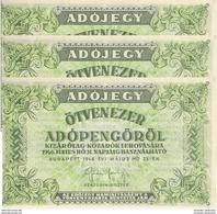 HONGRIE 50000 ADOPENGÖ 1946 P-138c NEUF SANS NUMÉRO DE SÉRIE 3 PCS [ HU138c ] - Hongarije