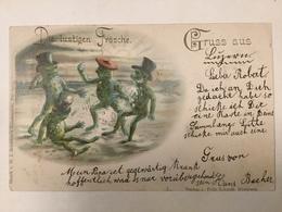 AK  FROG  FROGS  FROSCHE   LA GRENOUILLE  LITHO  1898. - Tierwelt & Fauna