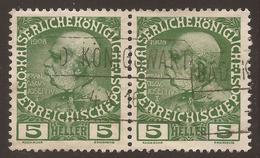 AUSTRIA / CZECH / BOHEMIA. BOXED KONIGSWART POSTMARK. 5h PAIR USED - 1850-1918 Empire