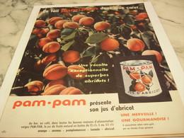 ANCIENNE PUBLICITE JUS D ABRICOT  EN BOITE PAM PAM 1958 - Afiches