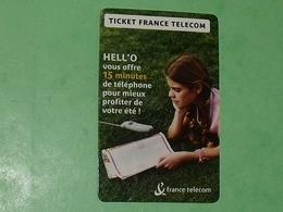 """TLTL / FRANCE / Ticket France Télécom N° :G 116 Hello 2 """" 15 Minutes Offertes"""" (en Carton)  TTB - France"""