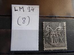 FRANCE  Perfin  Perforé LM94  Indice 8 - France