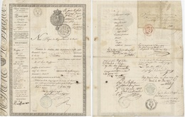 Passeport Héraldique Troyes, Basel Suisse Bâle Ville Militaire Chaumont, Bar Sur Aube 1827 - Documentos Históricos