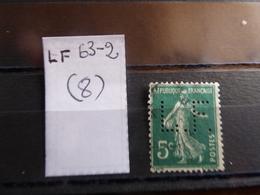 FRANCE  Perfin  Perforé LF63-2  Indice 8 - France