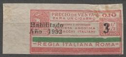 ARGENTINA 1932 CIGARETTE Tobacco Label Vignette Revenue Tax Seal Duty Minerva Greek Mythology ITALY Roma - Tabaco