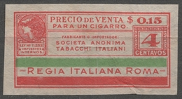 ARGENTINA 1930's CIGARETTE Tobacco Label Vignette Revenue Tax Seal Duty Minerva Greek Mythology ITALY Roma - Tabaco