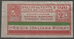 ARGENTINA 1930's CIGARETTE Tobacco Label Vignette Revenue Tax Seal Duty Minerva Greek Mythology ITALY Roma - Mythologie